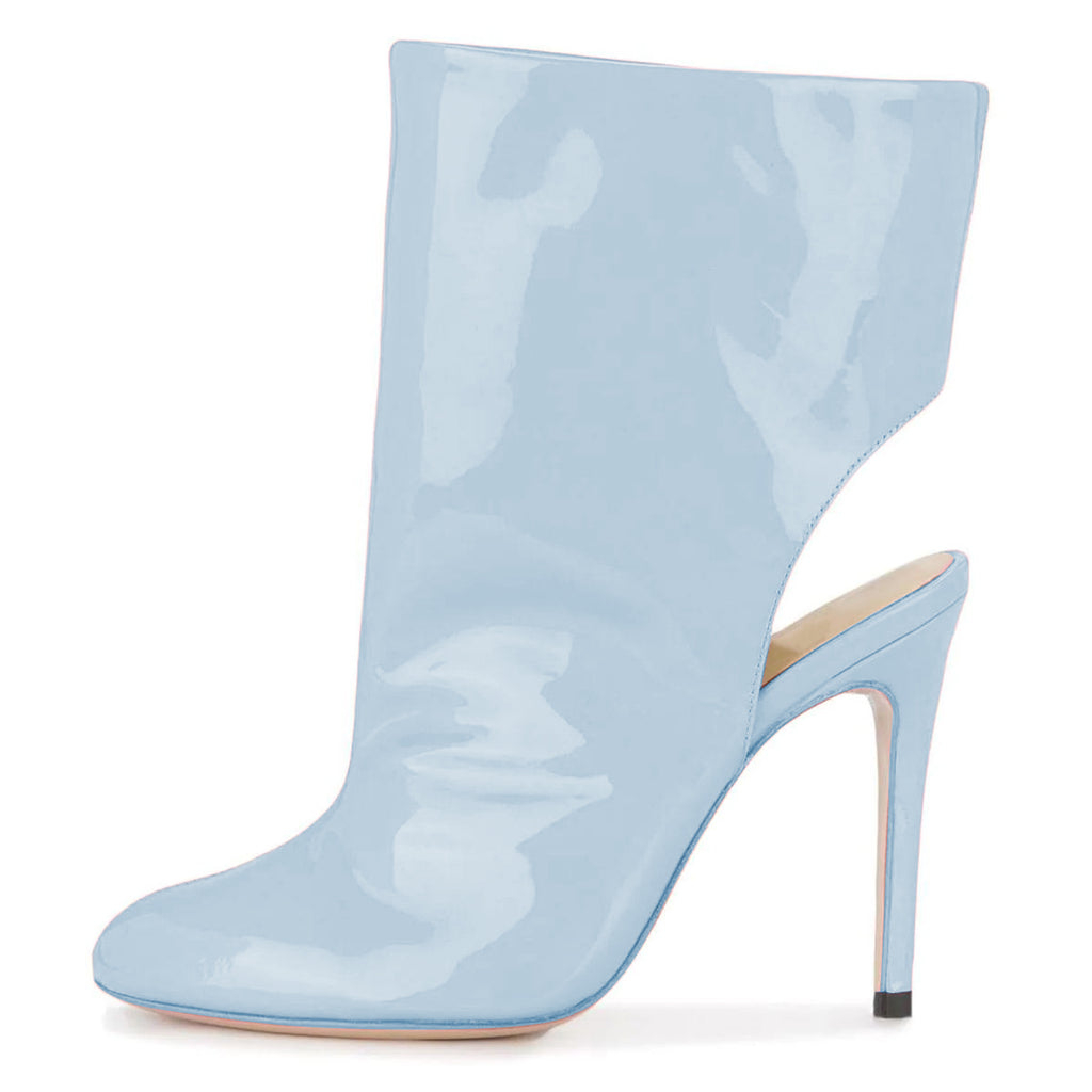 Blue Mirror Leather Stiletto Heel Boots
