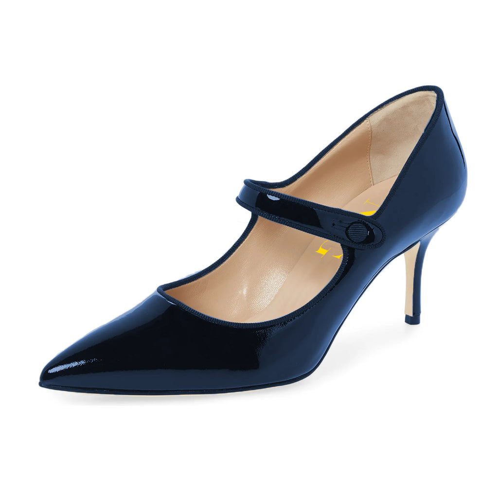 Blue Mirror Pointed Toe Mary Jane Stiletto Heel Pumps