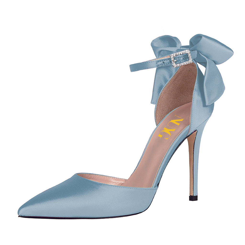 Blue Satin Cute Bow Pointed Toe Ankle Strap Stiletto Heel Pumps