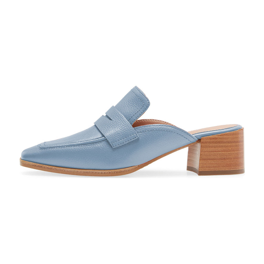 Blue Square Toe Block Heel Loafers Mule Sandals