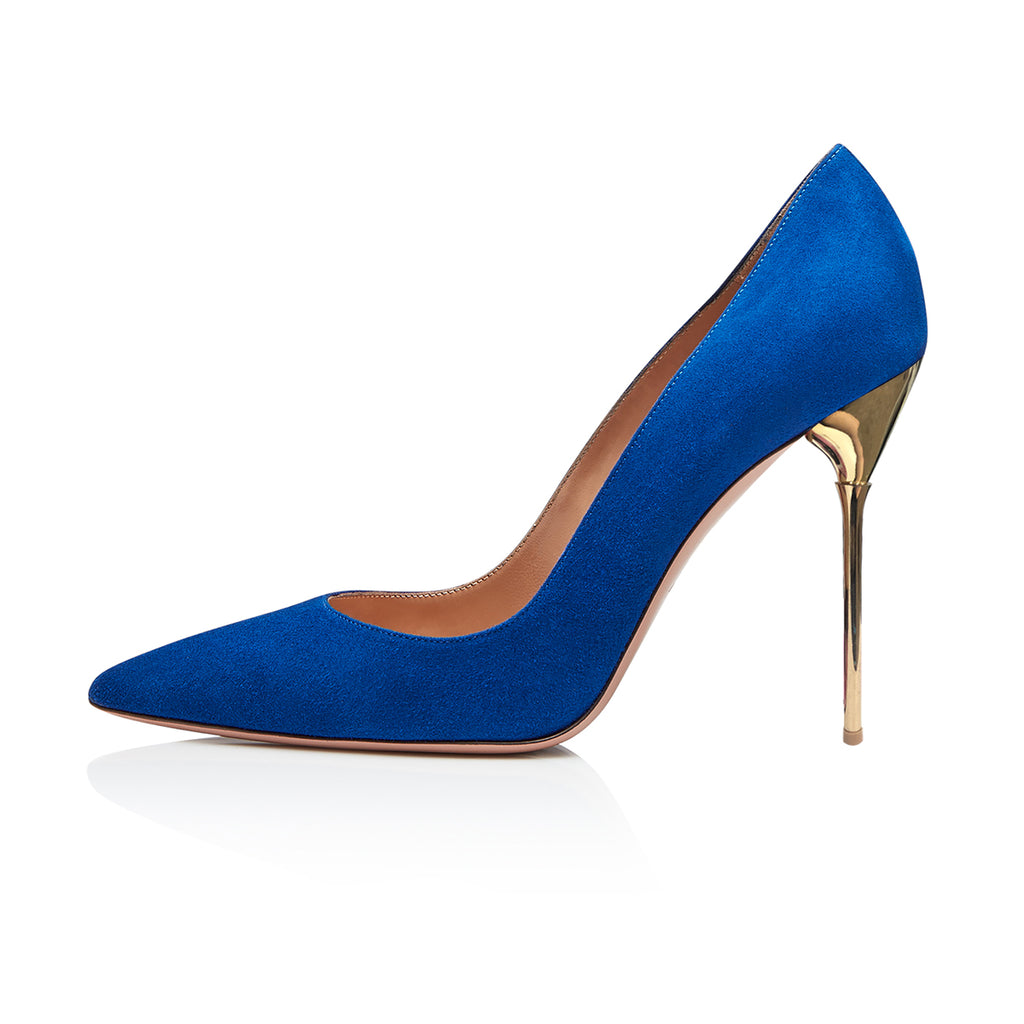 Blue Suede Pointy Toe Stiletto Heel Pumps