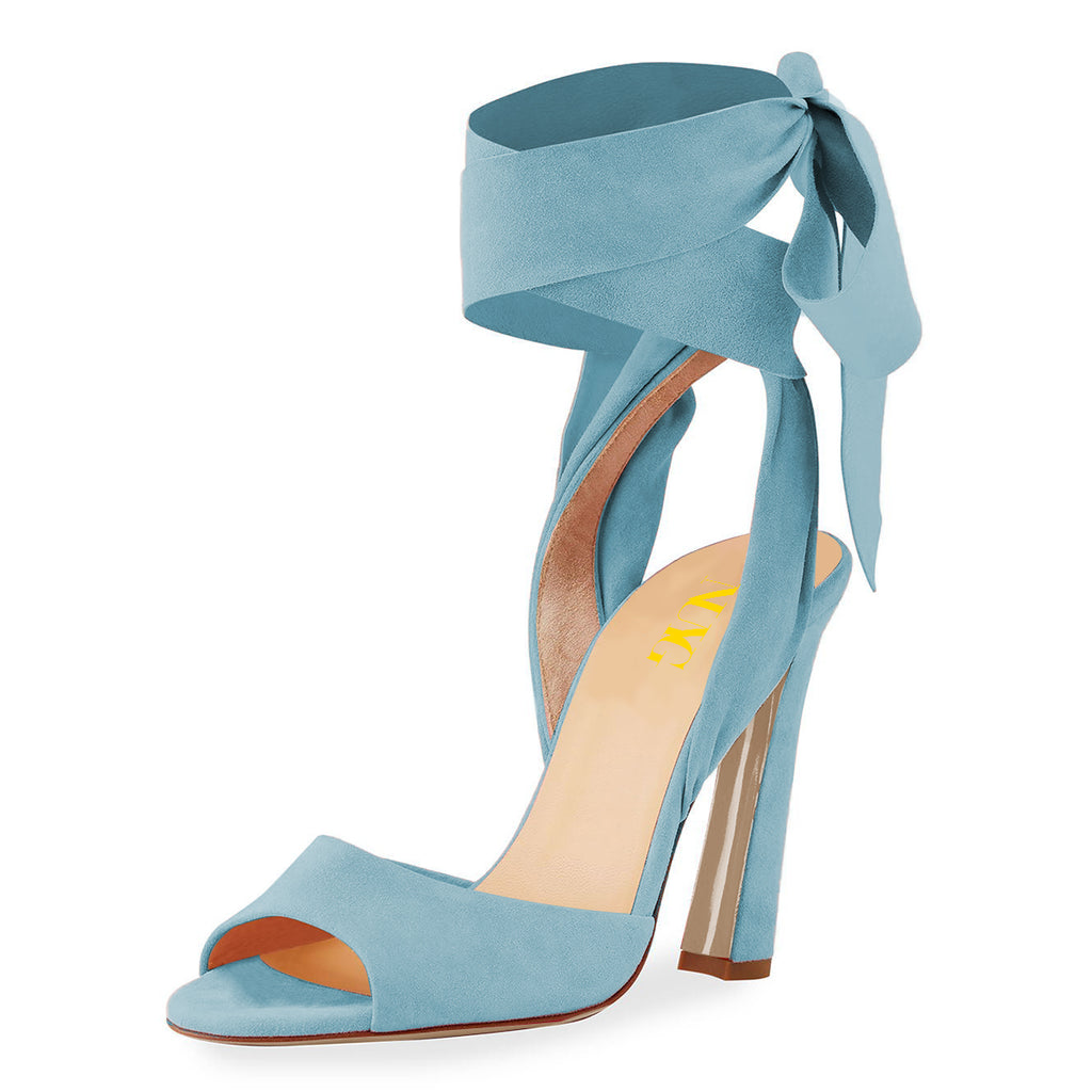 Blue Suede Strappy Open Toe Chunky Heel Sandals