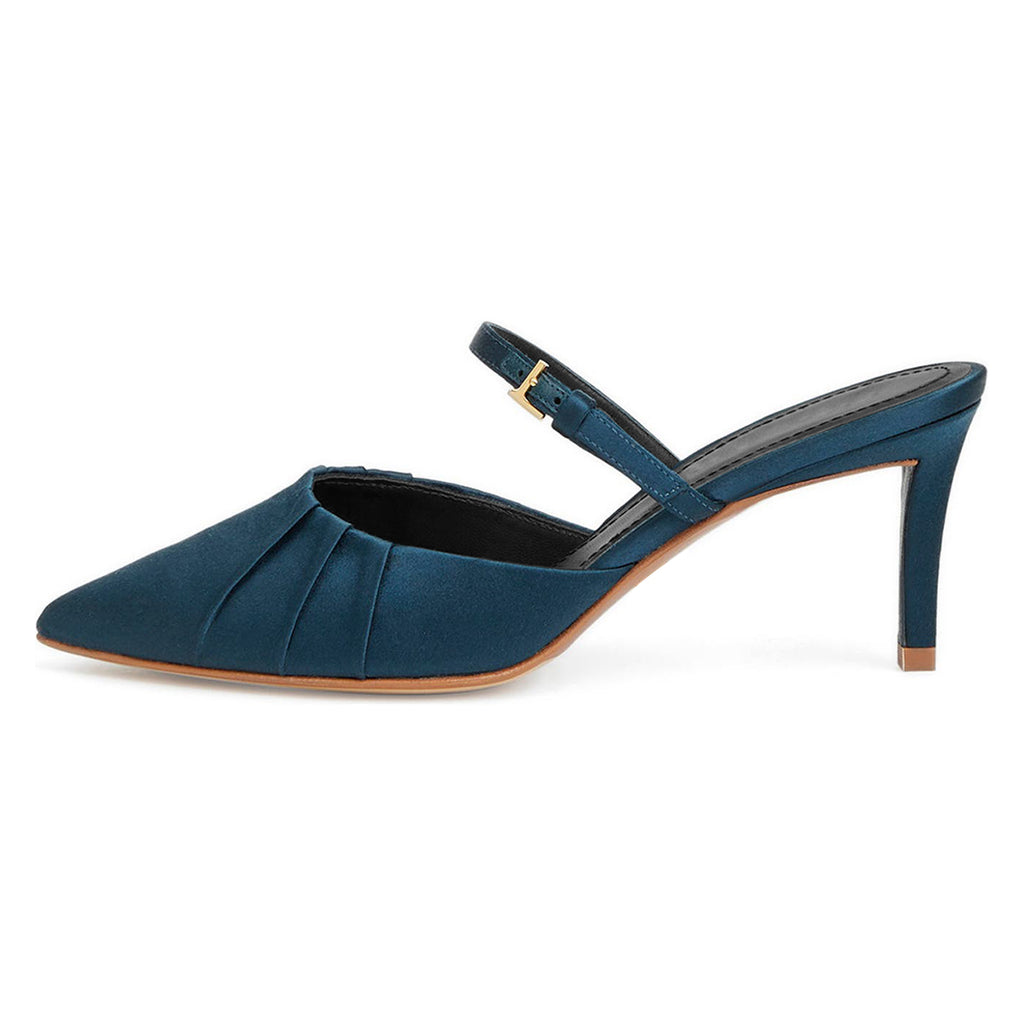 Blue Velvet Stiletto Heel Mule Sandals