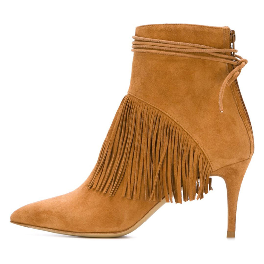 Brown Fringe Suede Stiletto Heel Ankle Boots