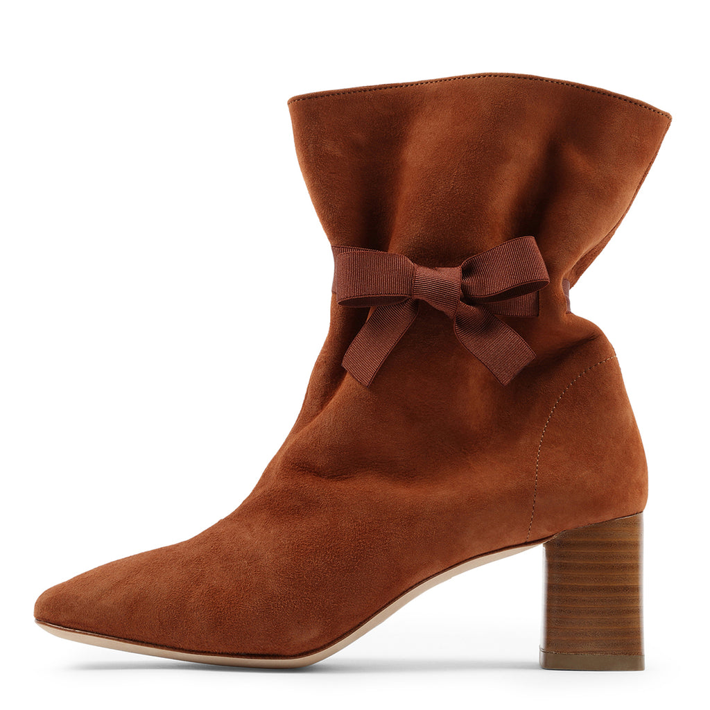 Brown Suede Bow Strappy Chunky Heel Ankle Boots