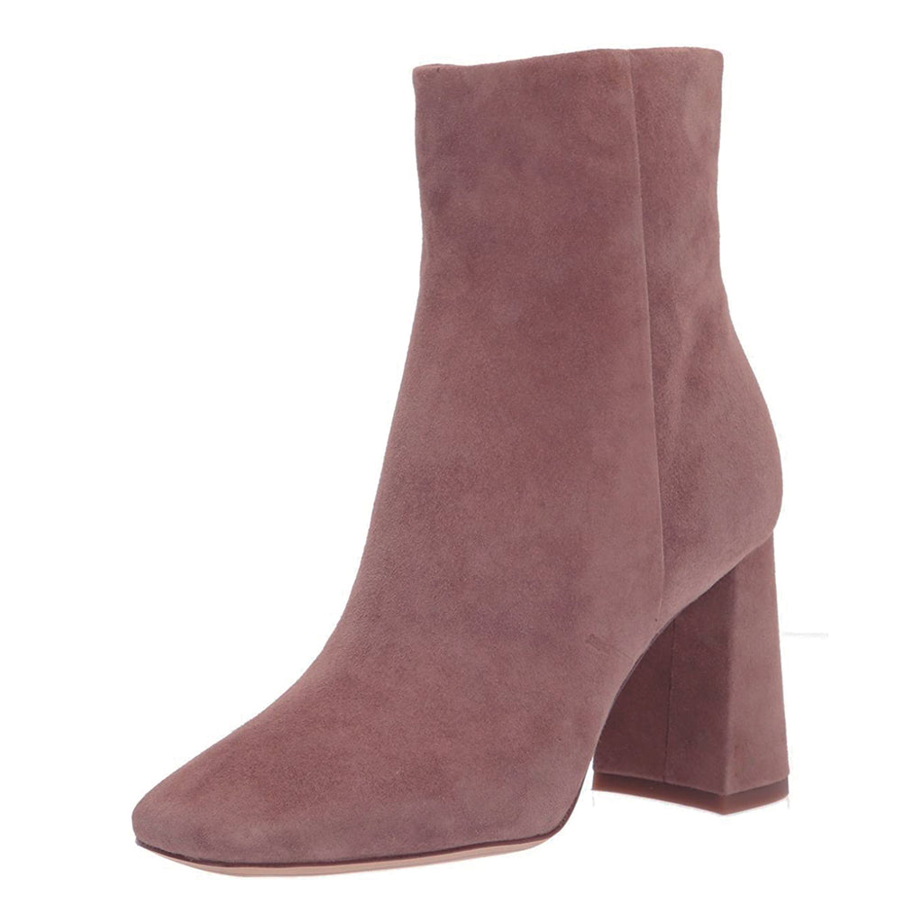 Purple Suede Chunky Heel Ankle Boots