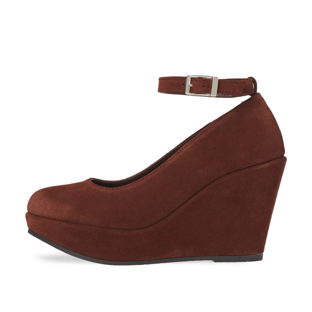 Brown Suede Wedges Ankle Strap Pumps
