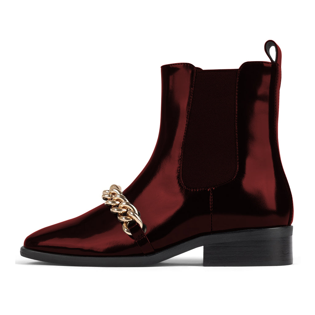 Burgundy Chain Mirror Leather Low Heel Ankle Boots