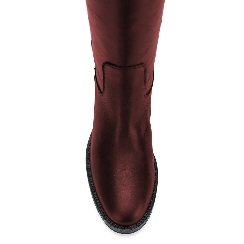 Burgundy Metal Tassel Flats Knee-High Boots