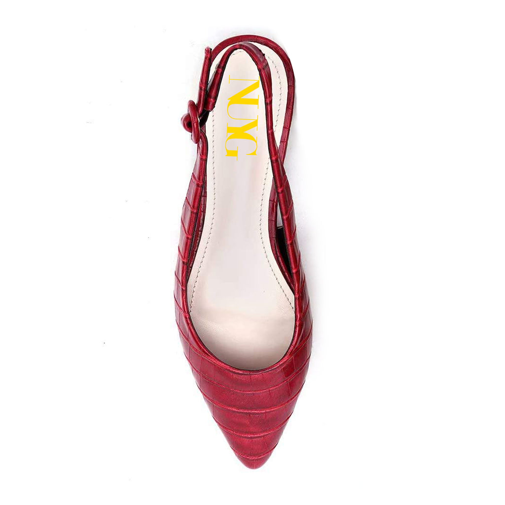 Burgundy Pointy Toe Comfortable Slingback Flats