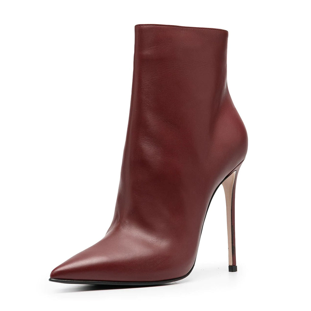 Burgundy Pointy Toe Stiletto Heel Sexy Boots
