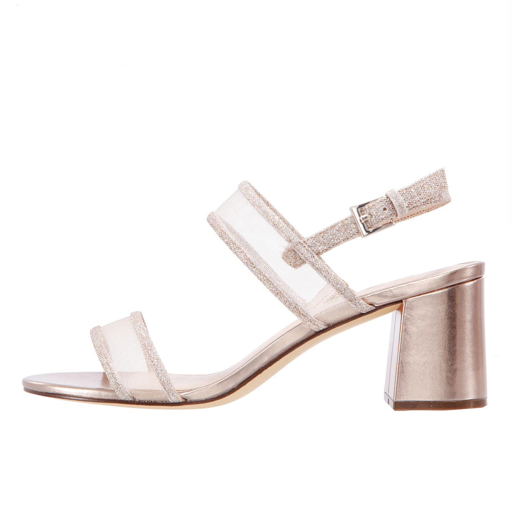 Champagne Net Ankle Strappy Buckle Block Heel Sandals