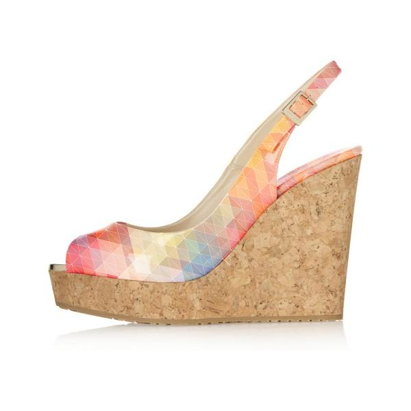 Cork Wedges Slingback Pumps-2