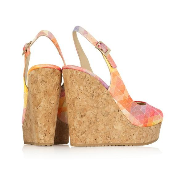 Cork Wedges Slingback Pumps-3