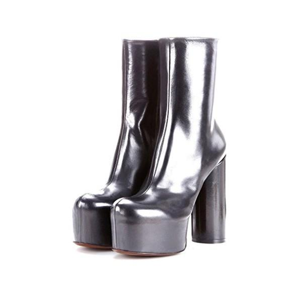 women-s-silver-platform-heels-mirror-patent-leather-chunky-heels-ankle-booties