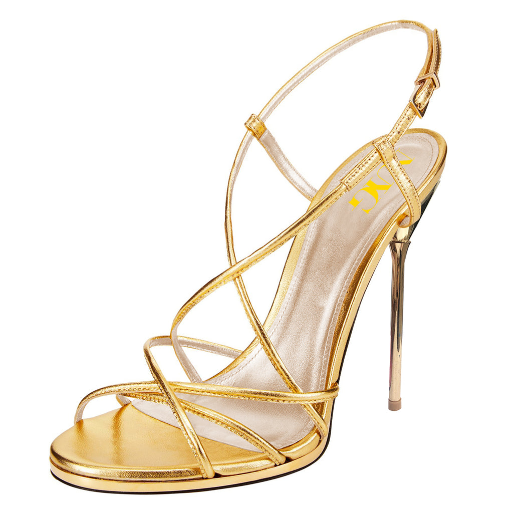 Gold Commuting Stiletto Heel Slingback Sandals