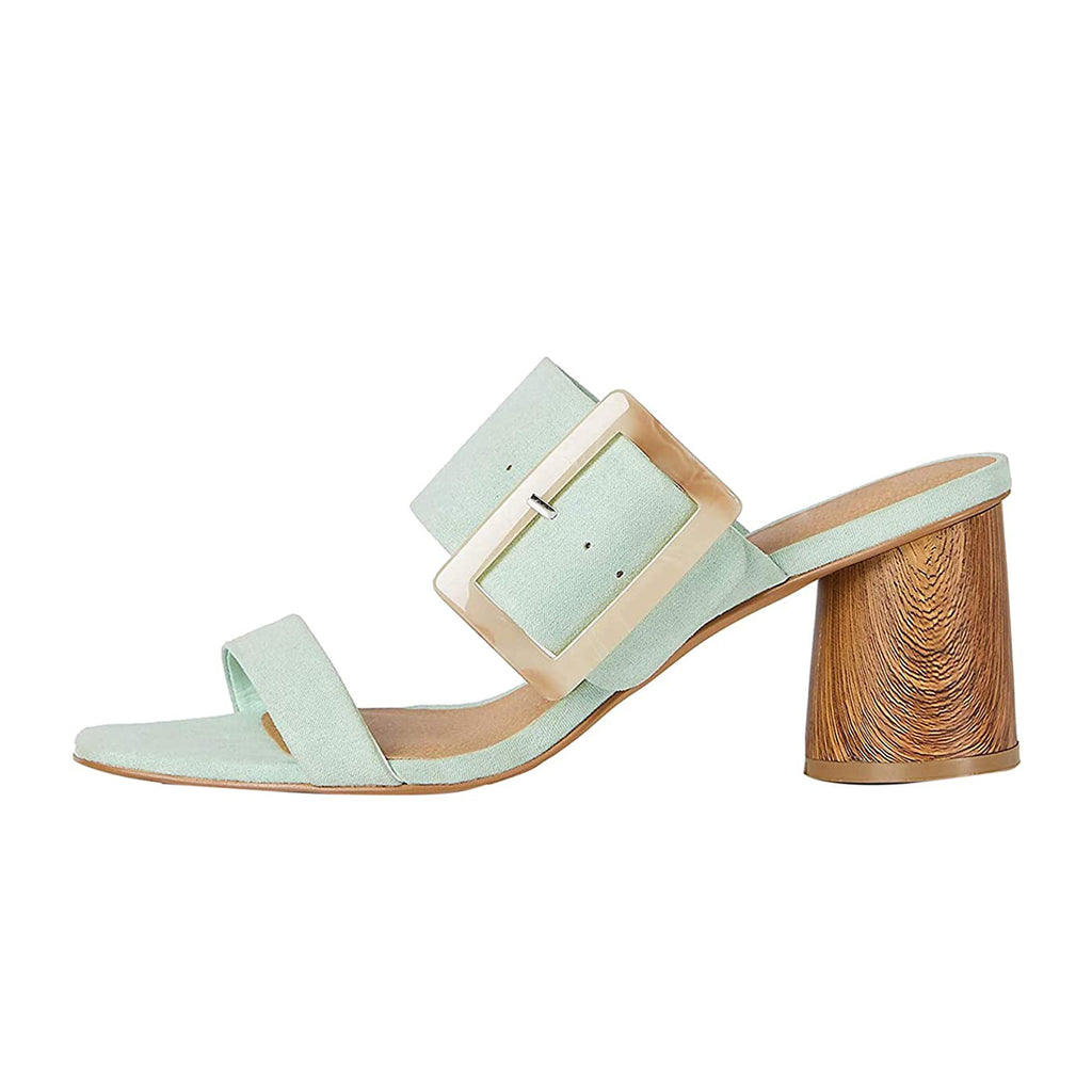 Green Buckle Open Toe Block Heel Mule Sandals