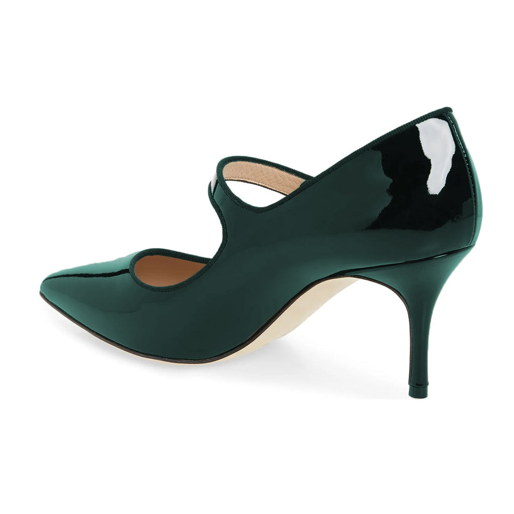 Green Mirror Pointed Toe Mary Jane Stiletto Heel Pumps