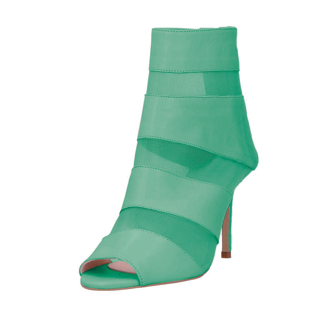 Green Net Peep Toe Stiletto Heel Ankle Boots