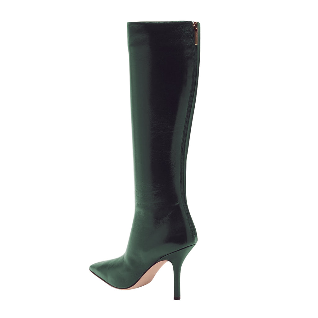 Green Patent Leather Pointed Toe Stiletto Heel Boots