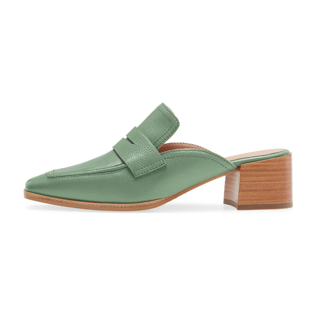 Green Square Toe Block Heel Loafers Mule Sandals