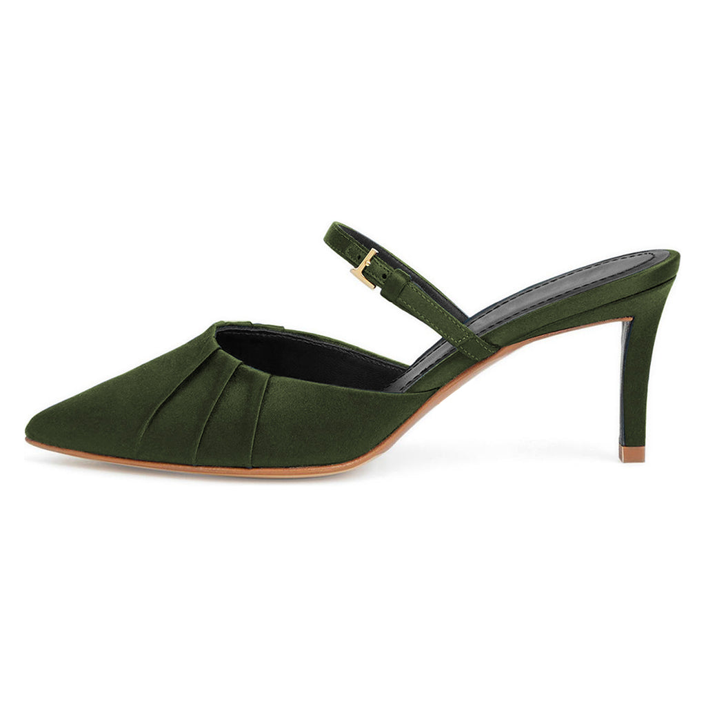 Green Velvet Stiletto Heel Mule Sandals