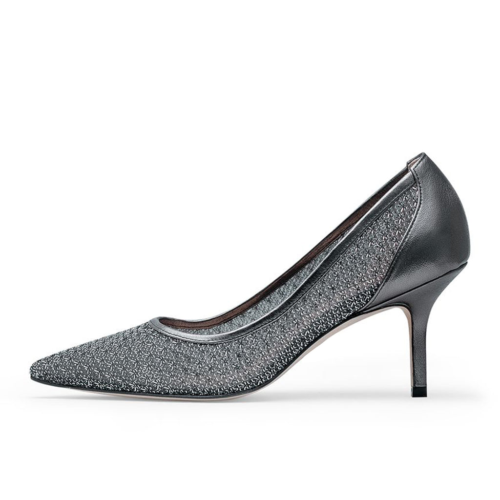 Grey Nets Pointy Toe Stiletto Heel Pumps