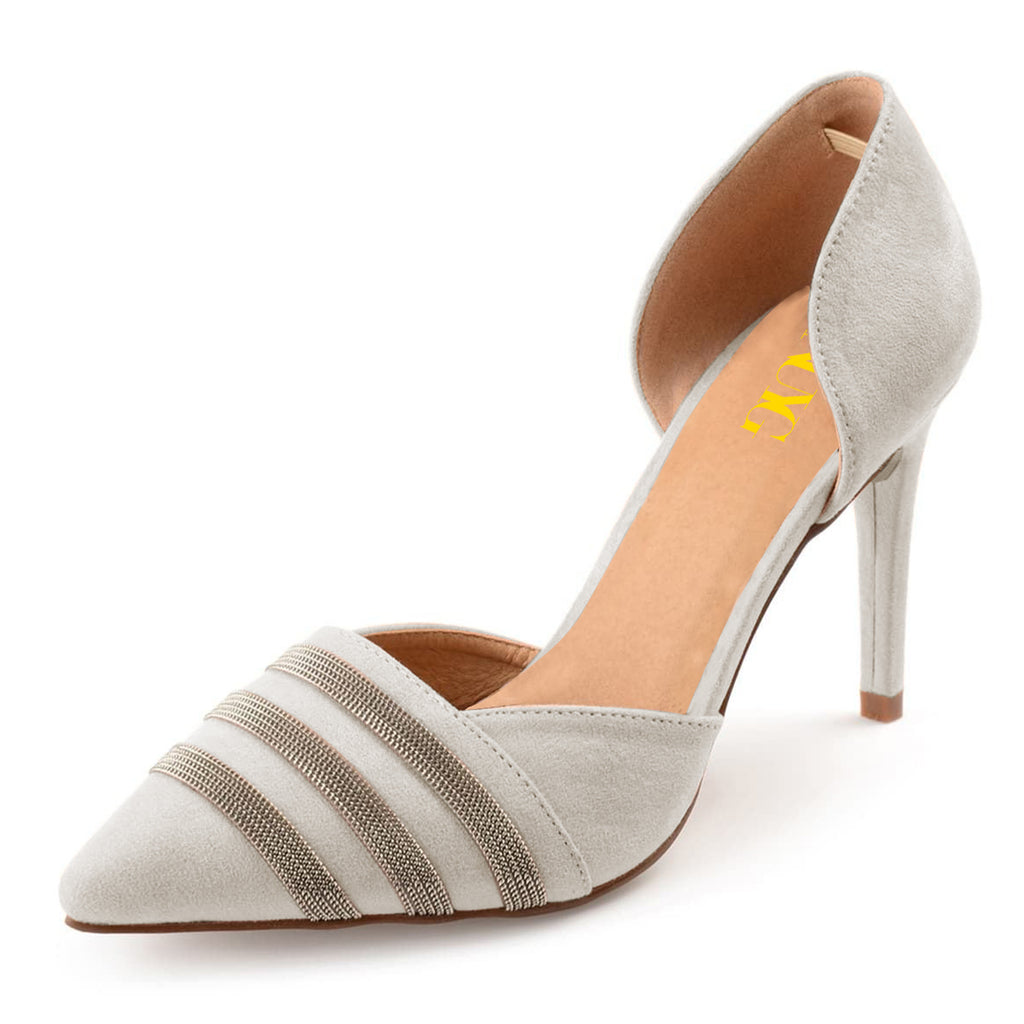 Grey Suede Chain Pointed Toe Office Stiletto Heel Pumps