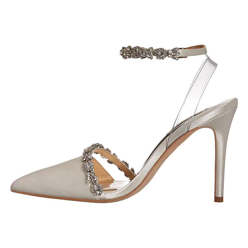Grey Velvet Rhinestone Stiletto Heel Ankle Strap Pumps