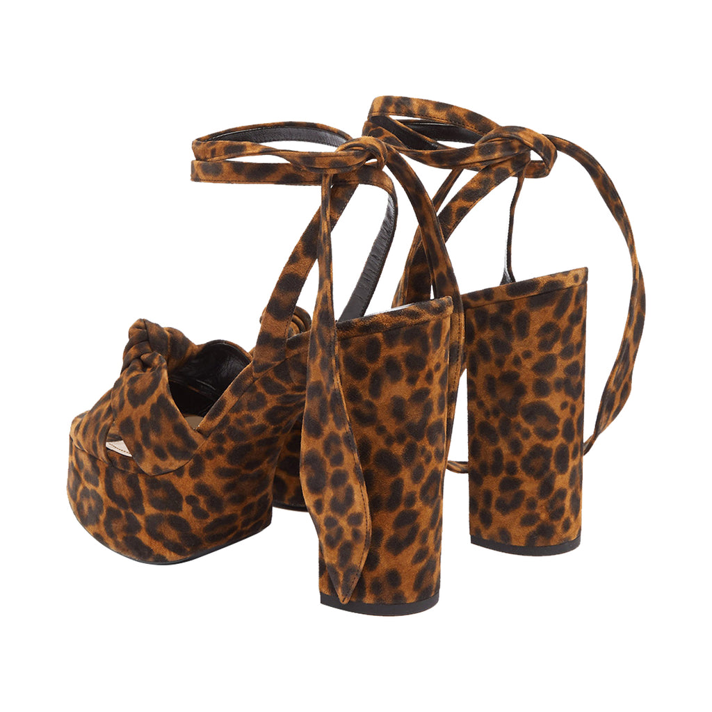 Leopard Print Suede Strappy Platform Chunky Heel Sandals