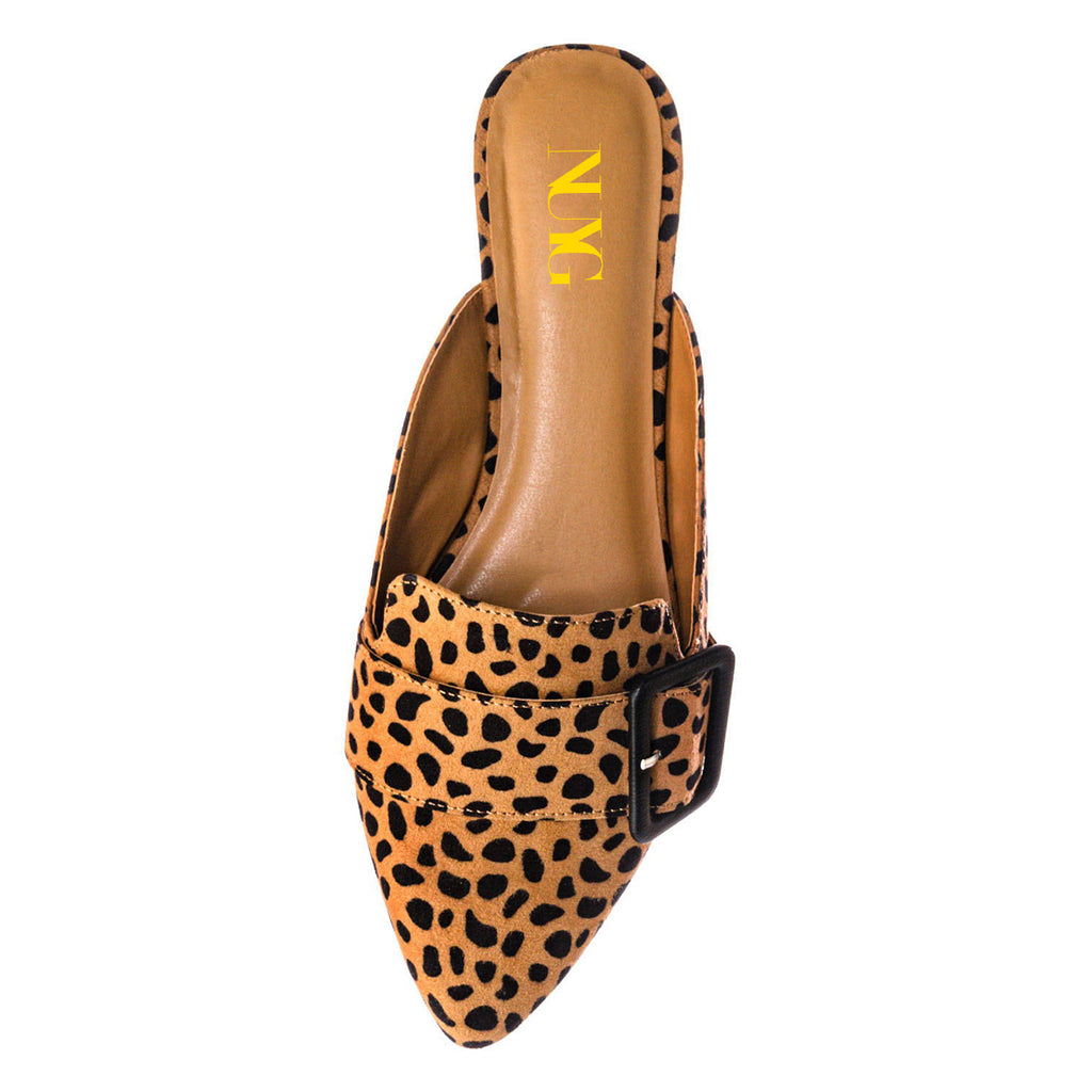 Leopard Suede Pointed Toe Flats Commuting Mule Shoes