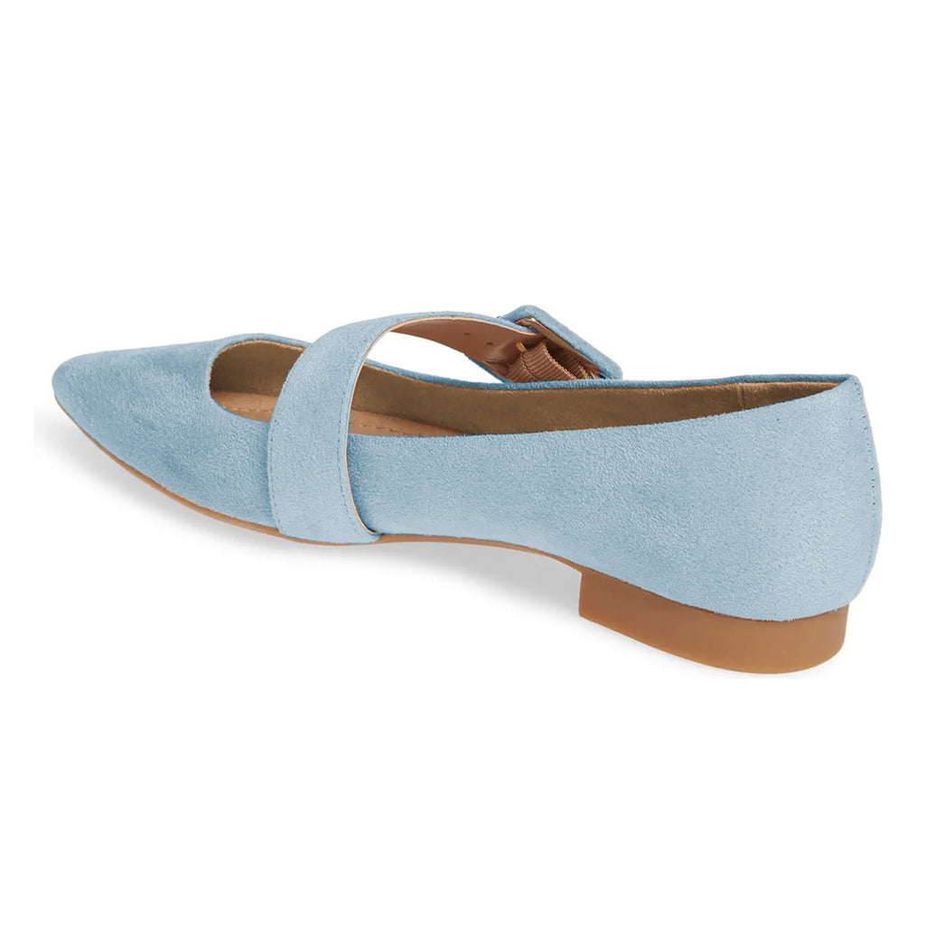 Light Blue Buckle Suede Pointed Toe Comfortable Flats