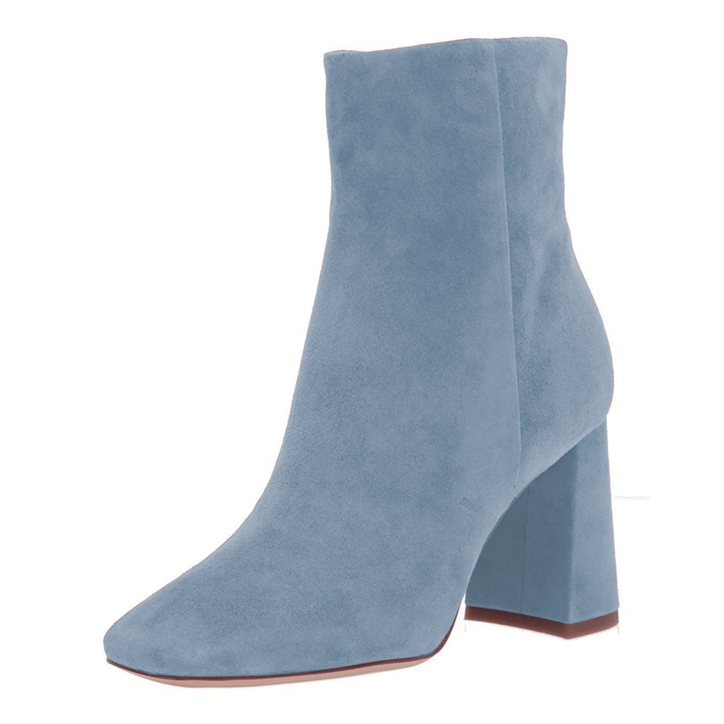 Light Blue Suede Chunky Heel Ankle Boots