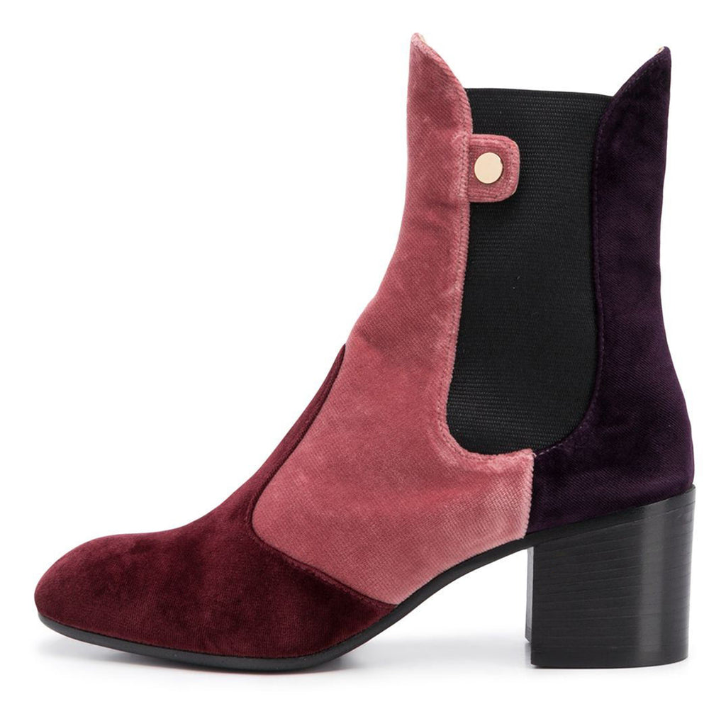Multi-Color Canvas Block Heel Boots