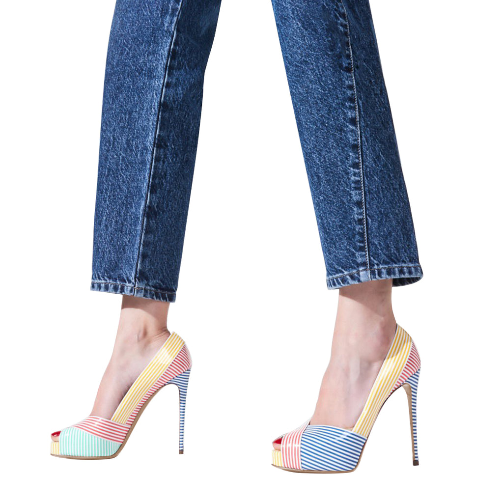 Multi-Color Stripe Platform Peep Toe Stiletto Heel Pumps