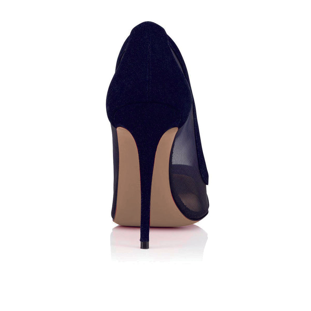 Navy Blue Nets Commuting Stiletto Heel Pumps