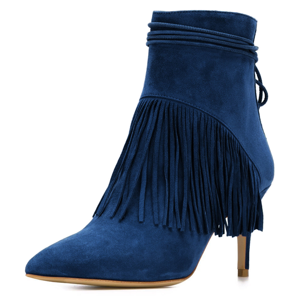 Navy Fringe Suede Stiletto Heel Ankle Boots