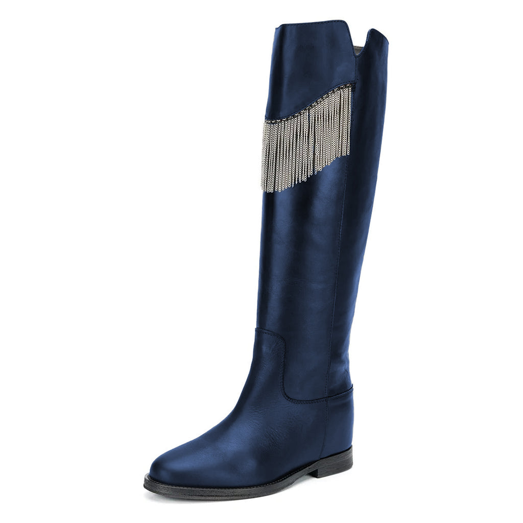 Navy Metal Tassel Flats Knee-High Boots