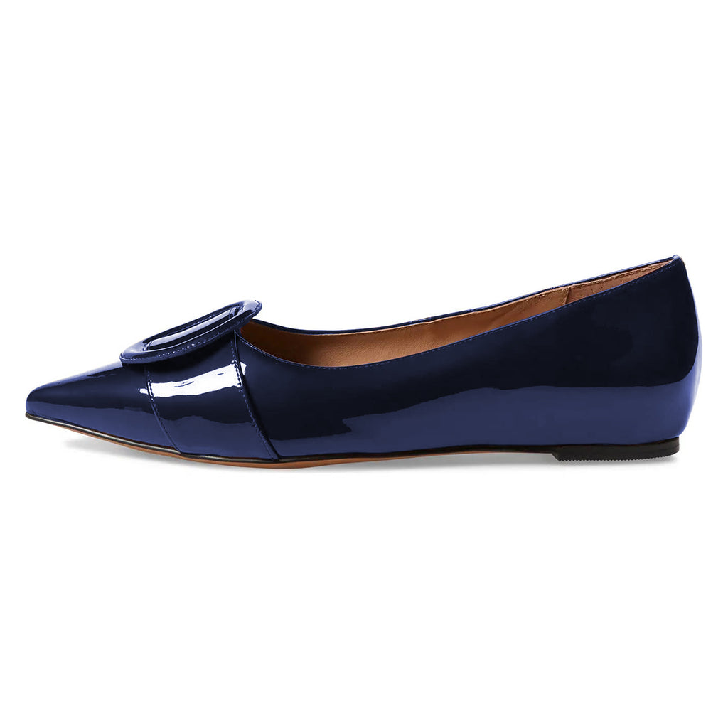Navy Mirror Leather Buckle Pointed Toe Comfortable Flats
