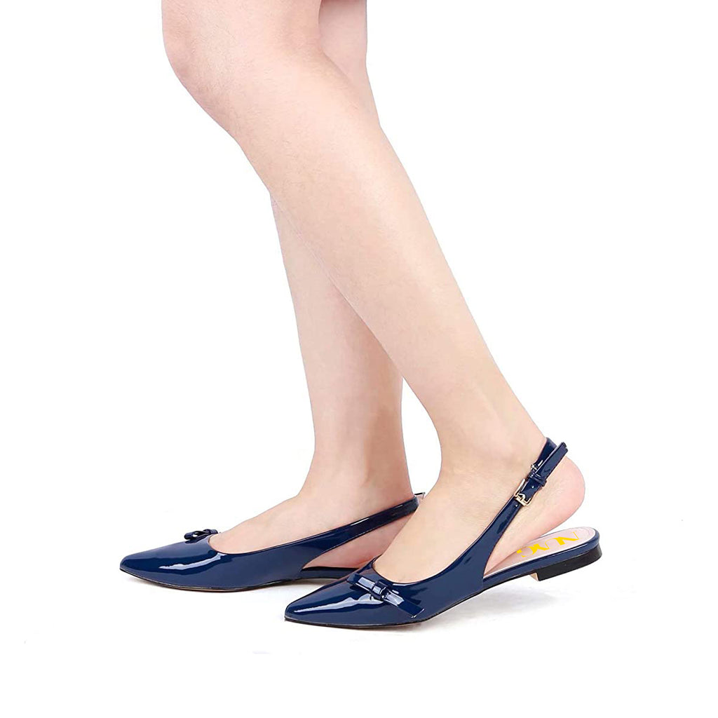 Navy Pointy Toe Comfortable Slingback Flats