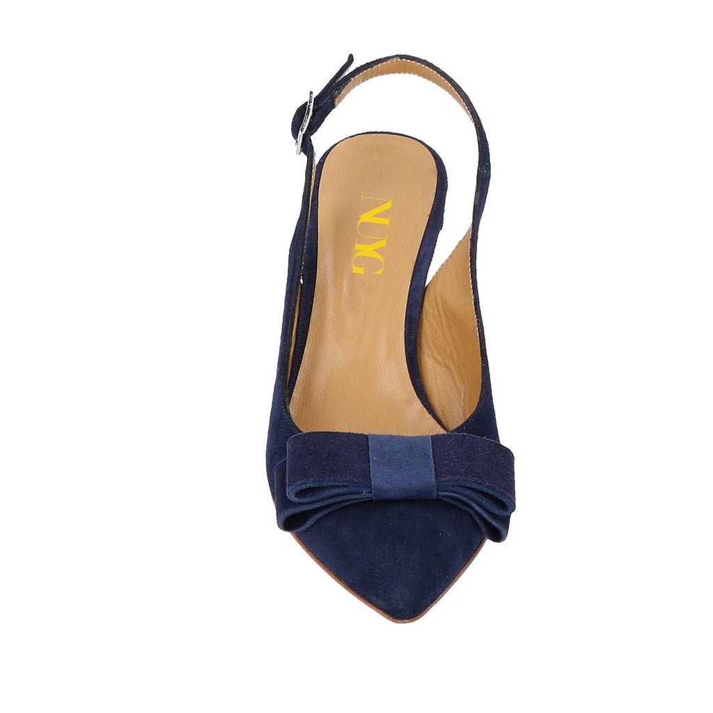 Navy Suede Bow Stiletto Heel Slingback Pumps