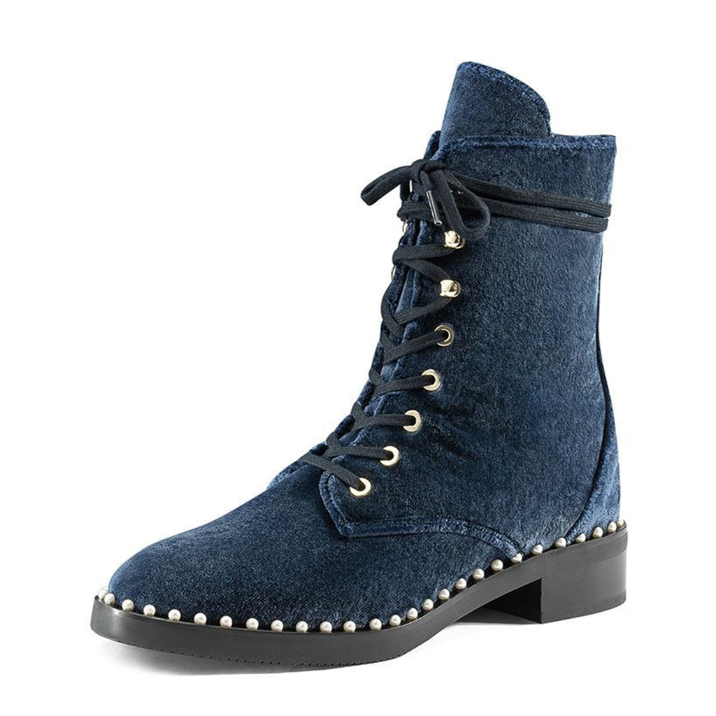 Navy Velvet Pearl Lace Up Short Boots