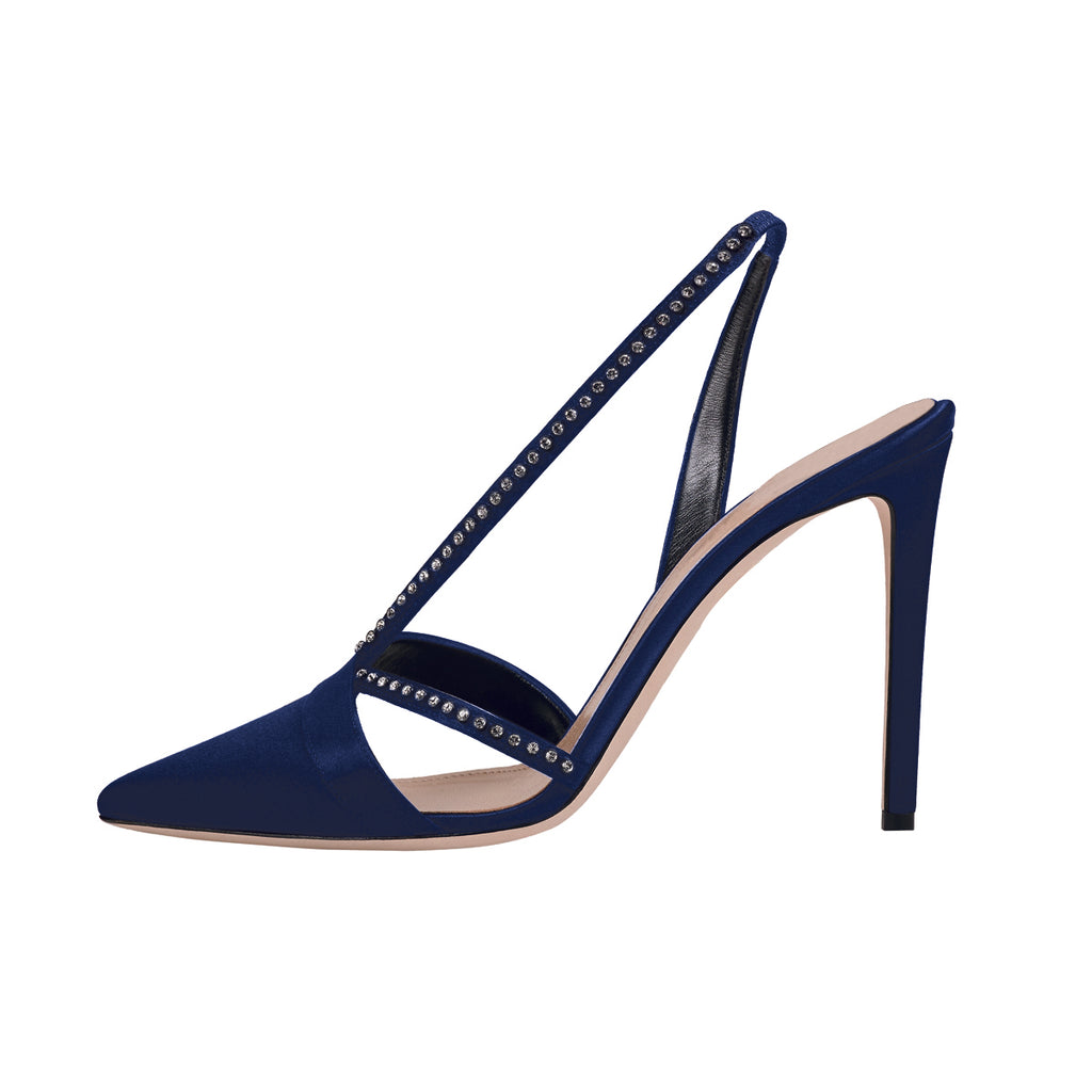 Navy Velvet Stiletto Heel Slingback Pumps