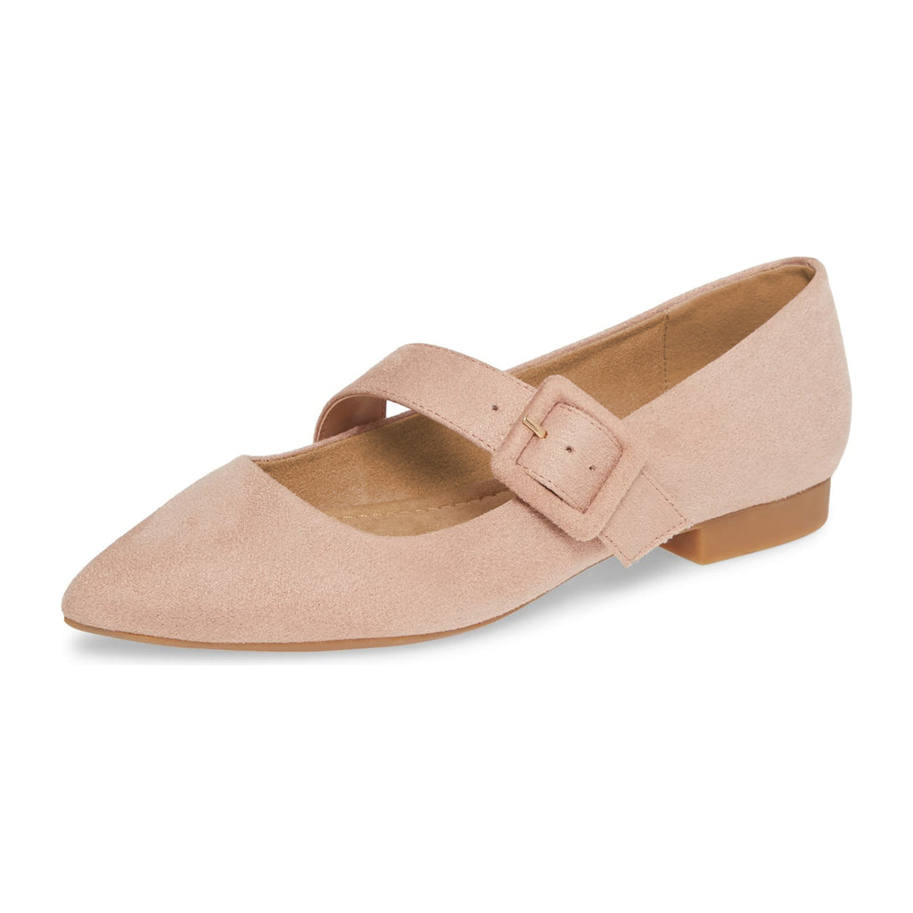 Nude Buckle Suede Pointed Toe Comfortable Flats