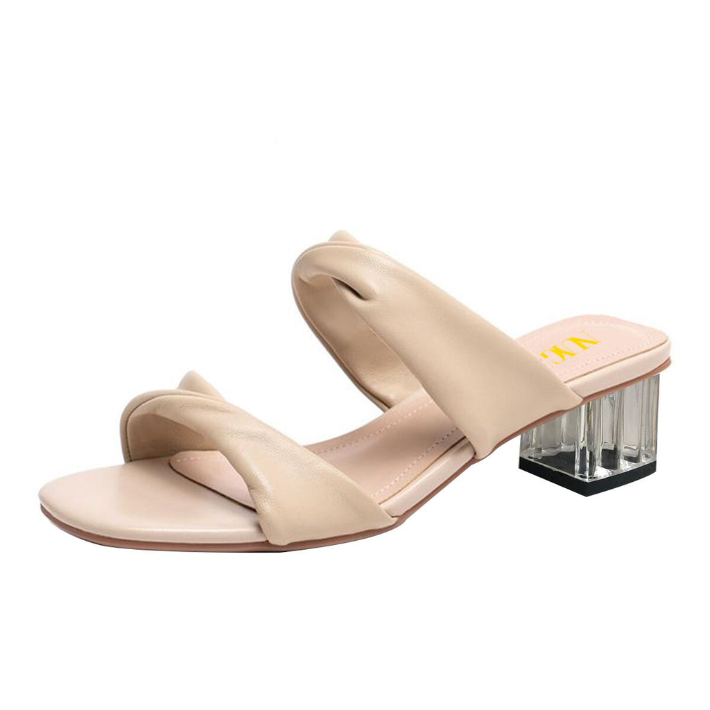 Nude Commuting Block Heel Mule Sandals