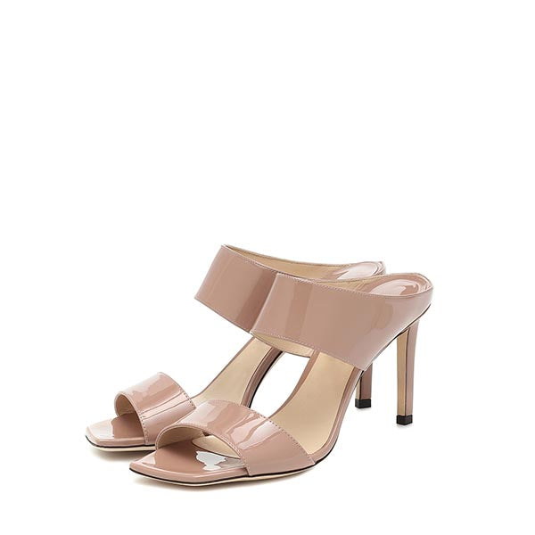 Nude Commuting Stiletto Heel Mule Sandals