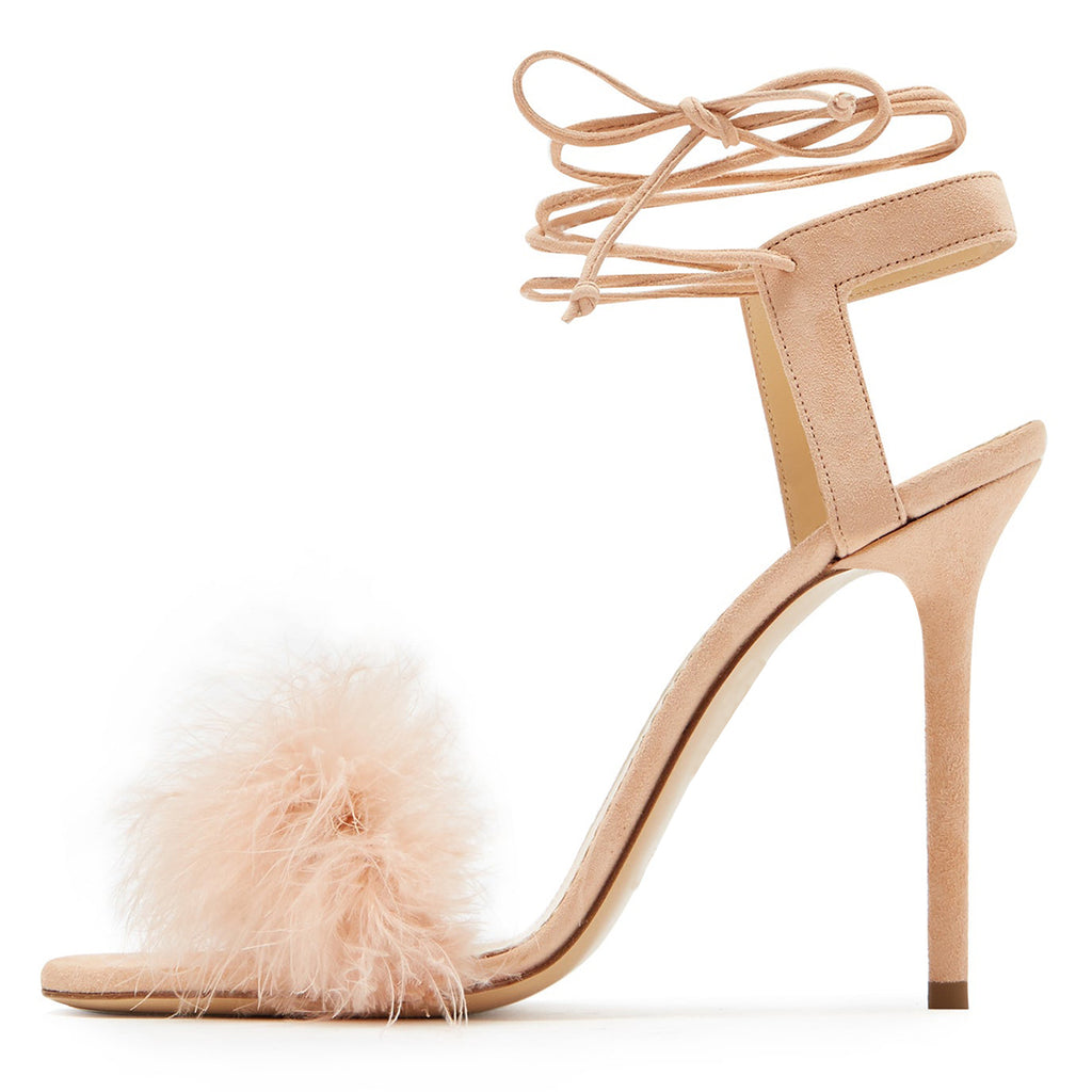 Nude Fur Strappy Stiletto Heel Sandals