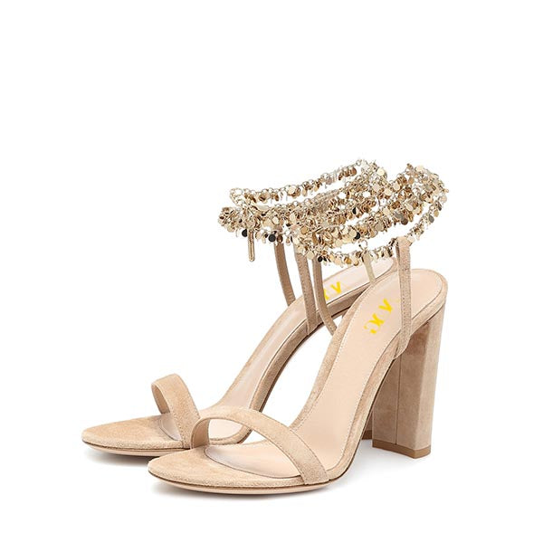 Nude Suede Ankle Strappy Chunky Heel Sandals