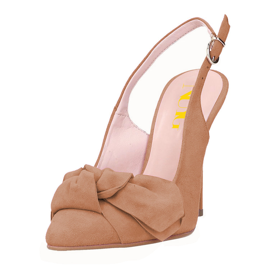 Nude Suede Bow Slingback Stiletto Heel Pumps