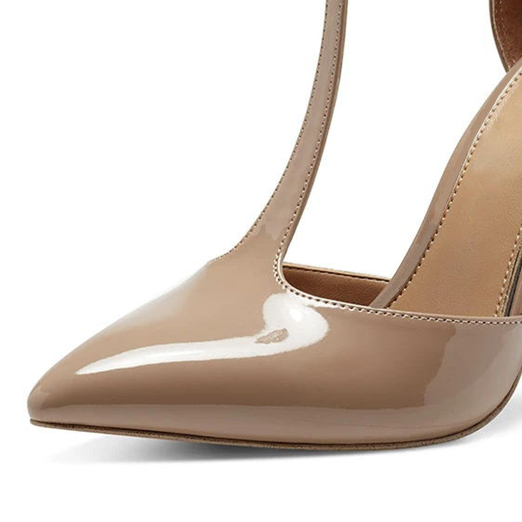 Nude T Strap Office Stiletto Heel Pumps